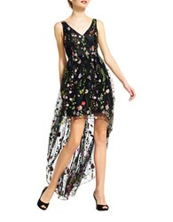 Adrianna Papell Embroidered Floral Hi Lo Dress Black Multi