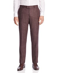 Theory Harkness Plaid Slim Fit Trousers 100 Bloomingdale's Exclusive Burgundy Grey Black