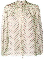 Giamba Heart Print Blouse Green