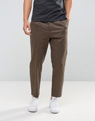 Kiomi Pleat Front Chinos In Khaki Khaki Green