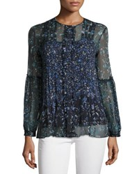 Elie Tahari Mitsy Pleated Floral Silk Chiffon Blouse Navy
