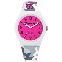 Superdry Unisex Urban Camo Silicone Strap Watch Pink Camo