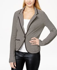 Freshman Juniors' Striped Ponte Knit Blazer Jet Black Creamy Ivory