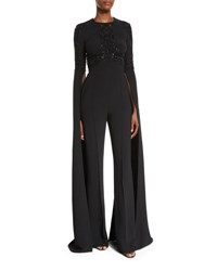 Elie Saab Beaded Bell Sleeve Flared Jumpsuit Black
