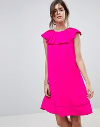 Ted Baker Clarees Shift Dress With Ruffle Neckline Bright Pink