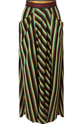 3.1 Phillip Lim Striped Satin Maxi Skirt Black