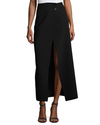 Joseph Ferdi Long Crepe Skirt W Thigh High Slit Black