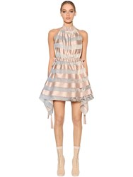 Fendi Striped Satin And Organza Halter Dress