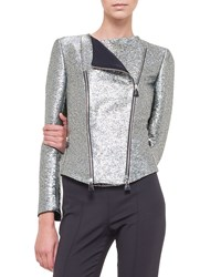 Akris Metallic Double Zip Moto Jacket Silver Multi Colors