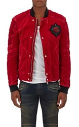 Balmain Men's Cotton Badge Embellished Bomber Jacket Red