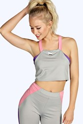Boohoo Strappy Cross Back Sports Crop Grey