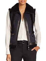 Vince Leather And Shearling Trimmed Suede Moto Vest Coastal