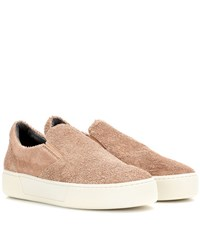 Balenciaga Suede Slip On Sneakers Brown