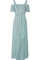 Draper James Dolly Cold Shoulder Gingham Cotton And Silk Blend Maxi Dress Green