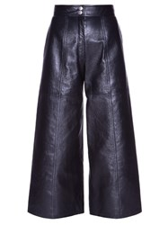 Saint Laurent High Waisted Leather Culottes Black
