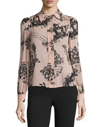 Red Valentino Button Front Printed Top Nudo Women's