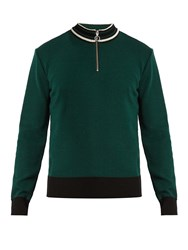Ami Alexandre Mattiussi Half Zip Wool Sweater Green