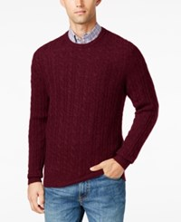 Club Room Men's Big And Tall Cable Knit Cashmere Sweater Only At Macy's Cabernet