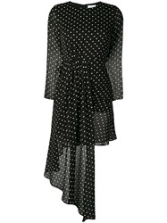 Jovonna Polka Dot Asymmetric Dress Black
