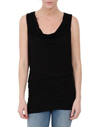 Three Dots Solid Cowlneck Top Black