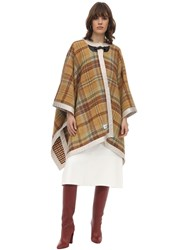 Lanvin Woven Checked Wool Cape Brown