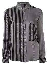 Golden Goose Deluxe Brand Striped Satin Shirt Black