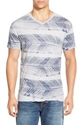 Sol Angeles 'Feather' Graphic V Neck T Shirt Steel Grey