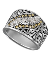 Effy Collection Balissima By Effy Diamond Swirl Ring In 18K Gold And Sterling Silver 1 10 Ct. T.W.