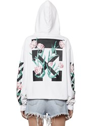 Off White Arrows And Tulips Hooded Cotton Sweatshirt