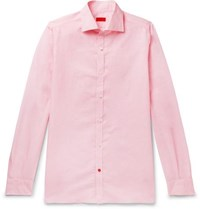 Isaia Slim Fit Cutaway Collar Pinstriped Linen And Cotton Blend Shirt Pink