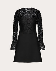 Valentino Embellished Crepe Couture And Heavy Lace Dress Black Cotton 41 Viscose 39 Polyamide 20