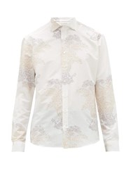 Etro Paisley Jacquard Cotton Blend Poplin Shirt Cream Multi