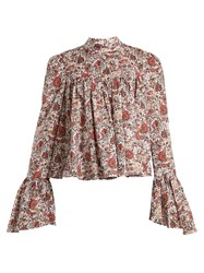 Caroline Constas James Floral Print Cotton Blouse Burgundy Multi
