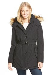 Women's Vince Camuto Faux Fur Trim Belted Down And Feather Fill Parka Black