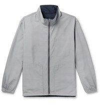 Club Monaco Reversible Matte Shell And Prince Of Wales Checked Woven Track Jacket Gray