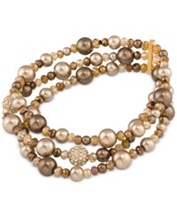 Carolee Gold Tone Brown Imitation Pearl And Pave Stretch Bracelet