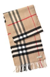 Men's Burberry Heritage Check Cashmere Scarf Brown Classic Check
