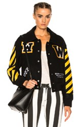 Off White Varsity Bomber Jacket With Patches In Black