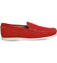 Ralph Lauren Bjorn Suede Loafers Rl2000 Red
