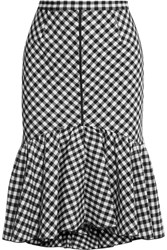 Tome Ruffled Gingham Jacquard Skirt Black