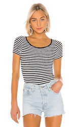 Enza Costa Short Sleeve Scoop Bodysuit In Black And White. Black And White