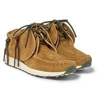 Visvim Fbt Fringed Suede Sneakers Tan