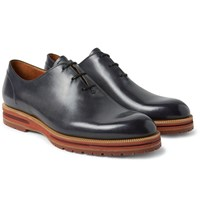Berluti Alessio Whole Cut Polished Leather Oxford Shoes Storm Blue