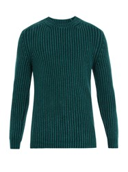 Iris Von Arnim Crew Neck Ribbed Sweater Green