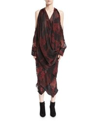 Urban Zen Devore Velvet Cold Shoulder Draped Midi Dress Red