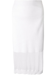 Mcq By Alexander Mcqueen Sheer Panel Fitted Knit Skirt White