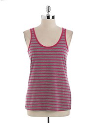 Lord And Taylor Striped Tank Top Fuchsia Grey Stripe