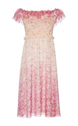 Giamba Off The Shoulder Bird Print Midi Dress Pink