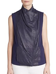 Vince Leather Paneled Asymmetrical Knit Vest Ink
