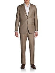 Saks Fifth Avenue Black Slim Fit Sharkskin Wool Two Button Suit Tan
